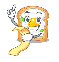 With menu sandwich with egg above character board vector