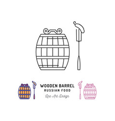 wooden barrel icon russian food and drink vector image