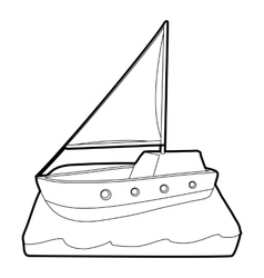 Yacht icon isometric 3d style vector