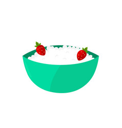 cottage cheese dairy strawberry vector image vector image