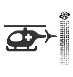 emergency helicopter icon with professional bonus vector image vector image