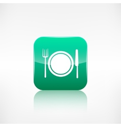 Platefork and knife icon Application button vector image