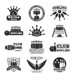 Set of bowling emblems vector