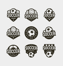 set of football soccer logos sport emblems vector image