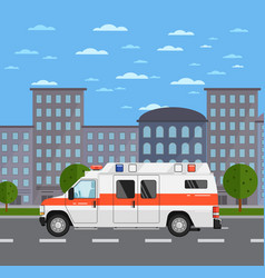 ambulance car on road in urban landscape vector image vector image