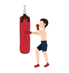 boxer silhouette avatar with punch bag icon vector image