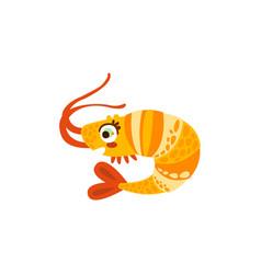 cute shrimp sea creature hand drawn vector image vector image