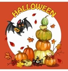 Halloween set with pumpkin bat and spider vector image vector image