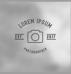 logo for photographer with icon of camera vector image vector image