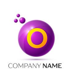 O letter splash purple dots and circle bubble vector