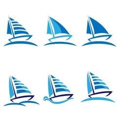 Set of boats logos vector image