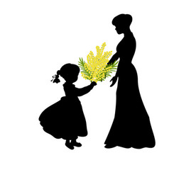 silhouette girl gives mom mimosa mothers day vector image