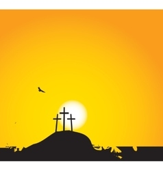 three crosses on Mount Calvary vector image vector image