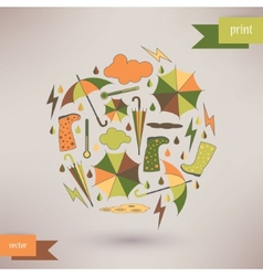 Autumn abstract background simple shapes and vector image vector image