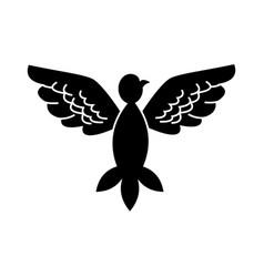 bird pigeon freedom wings open silhouette vector image