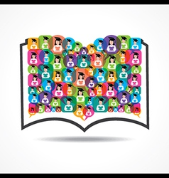 Book Icon colorful graduate student icons vector image