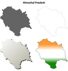 Himachal Pradesh blank outline map set vector image vector image