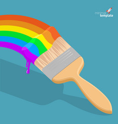 raibow brush with rainbow paint vector image
