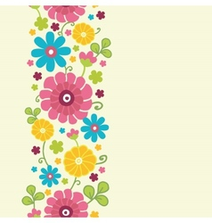 Colorful kimono flowers vertical seamless pattern vector image vector image