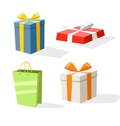 Different color gift boxes isolated on white vector image