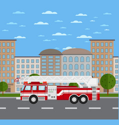 fire truck on road in urban landscape vector image vector image
