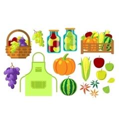 Harvest flat set vector image