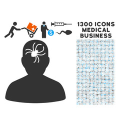 mental bug icon with 1300 medical business icons vector image