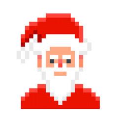 santa claus pixel art cartoon retro game style vector image vector image