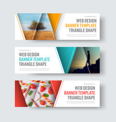 set of white banners with triangular elements vector image vector image