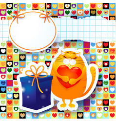 sweet kitten and gift custom background vector image