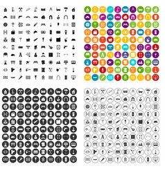100 individual construction icons set vector image