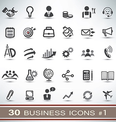 30 business icons set 1 vector image
