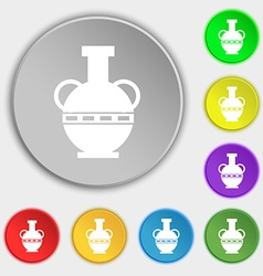 Amphora icon sign Symbol on eight flat buttons vector