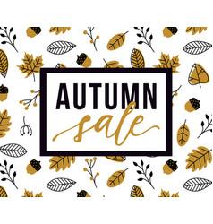 autumn sale flyer template with lettering and vector image
