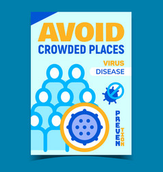 Avoid crowded places creative promo poster vector