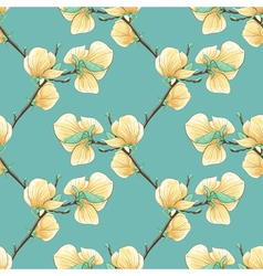 Background with blooming magnolia tree branches vector