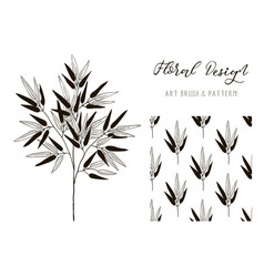 bamboo branch design art brush and pattern vector image vector image