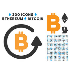 Bitcoin refund flat icon with set vector