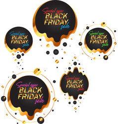 Black friday labels set in black and gold vector