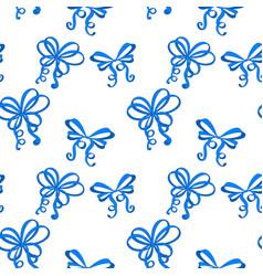 blue silk ribbon bows as seamless pattern vector image