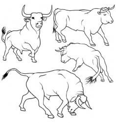 bull set vector image
