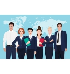 Business team formed of young businessmen standing vector image