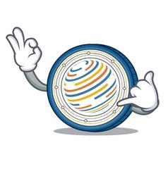 Call me factom coin mascot cartoon vector