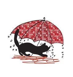 Cat and umbrella - bad weath vector image