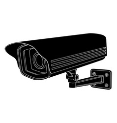 Cctv security camera black outline drawing vector