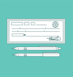 cheque contour cheque icon in vector image