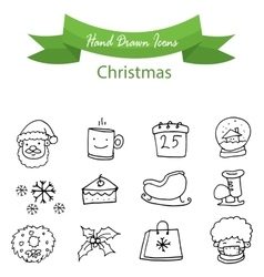 Christmas icons hand draw collection vector