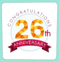 Colorful polygonal anniversary logo 3 026 vector
