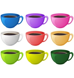 Colourful cups with coffee vector
