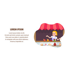 Confectionery sale flat web banner template vector